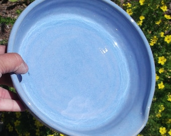Blue Eyed Girl Serving Dish with Lip - Handmade Pottery