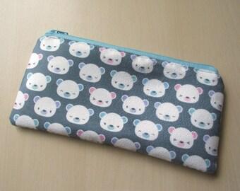Faux suede zipper pouch : kawaii polar bears