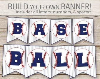 Baseball Banner - Printable Download - Baseball Birthday, Baby Shower Baseball Customizable DIY Banner Printable with ALL Letters & Numbers