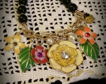 After Life Accessories Repurposed Stretch Charm Bracelet Yellow Flower