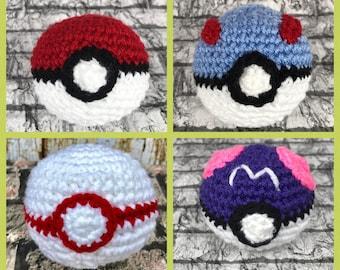 Pokeball, grand bal, Premier ballon, Master Ball, jouet Amigurumi, rouge et blanc, livraison gratuite, au Crochet boule molle, jouet d'enfant fait à la main