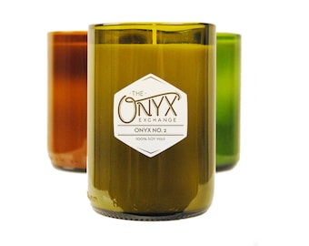 Onyx No. 2 Wine Bottle Soy Candle - Candle for Men - Cologne Type Candle