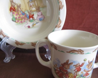 Royal Doulton, Bunnykins, 1 x two handled cup, and cereal bowl