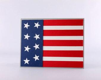 Fait à la main 4 juillet jour de l'indépendance - carte drapeau des États-Unis - carte - carte de voeux de feux d'artifice - quatrième de juillet carte - Stampin Up carte