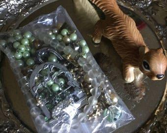 One Bag of Assorted Vintage Broken Jewelry-Crafts/Repair/Reimagined-Pins/Brooches/Earrings