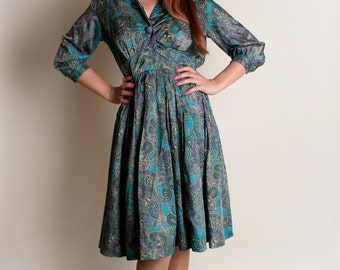 Vintage 1960s Dress - Paisley Blue and Purple Autumn Day Dress - Small XS