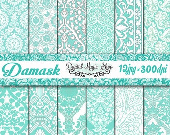 12 DAMASK TURQUOISE Digital Paper Pack  - (paper crafts,card making,scrapbooking) Personal and Commercial use
