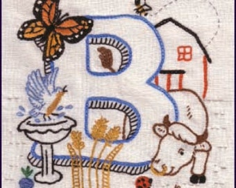 Instant Download B of ABCs of AGRICULTURE crewel embroidery pattern