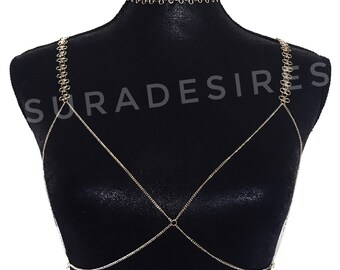 Kylie Chain Bra, Lace Chain Choker, Lace Chain Bra, Choker Necklace, Bra Chain, choker and bra, Bikini Jewelry, Beach jewelry | Suradesires