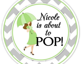 Baby Shower About to Pop Stickers, Baby Shower Umbrella Stickers, Chevron Baby Shower, Custom Baby Shower Labels, Personalized for YOU