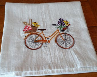 Picnic bicycle embroidered tea towel, dish towel, flour sack towel, kitchen towel, spring kitchen, spring decor, gift for her