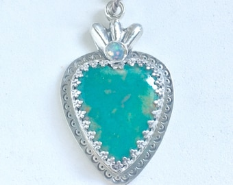 Turquoise Sacred Heart Pendant in Sterling Silver with Rose Cut Opal, milagros, flaming heart