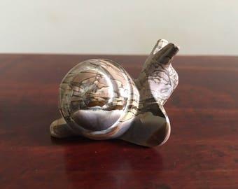 Vintage Stone Snail Figurine