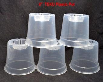 Bin Teku 6'' Clear Round Plastic Orchid Pot (20 Pack) ( 100566 )