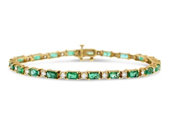 6.26 Ct. Natural Diamond & Green Emerald Bracelet In Solid 14k Yellow Gold