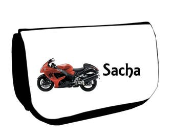 Black cosmetic case /crayons bike personalized with name