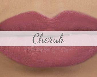 "Vegan Matte Lipstick Sample - ""Cherub"" medium mauve pink natural lipstick"