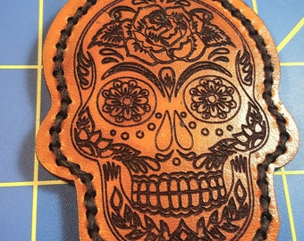 Keychain - Leather - Sugar Skull Design - Double Sided - Day of the Dead