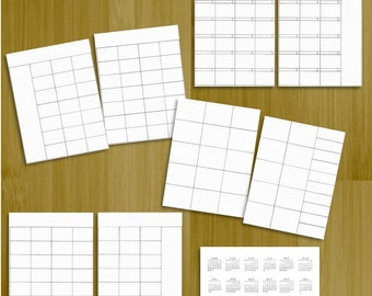Bullet Journal Printable Monthly Calendar 2 Page Spread Inserts - Size A5 Hand-drawn with Watermark Grid - Bonus 2017 Mini Calendar Stickers