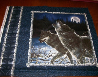A Wonderful Wolves in the Snow Fabric Panel Free US Shipping