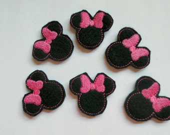 Black Felt with Hot Pink Machine Embroidered Mouse Ears - 307