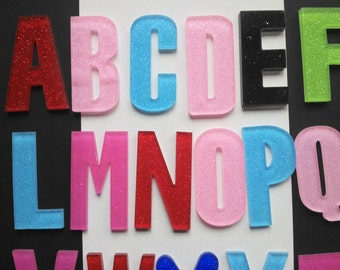 2 pieces A-Z letter alphabet flatback glittered large cabochons deco den craft supplies jewellery making