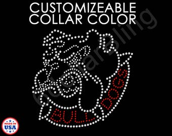 BULLDOG head w/ BULLDOGS in collar Rhinestone Bling Iron-on Heat Transfer Iron-on Applique, choose from 30+ Colors - Make Your Own Shirt DIY