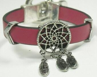 Sale| Dream Catcher Bracelet, Symbolic Southwest Jewelry, Minimalist, Pink Leather, Dreamcatcher, Native, Southwest, Cowgirl, Leather Bracel
