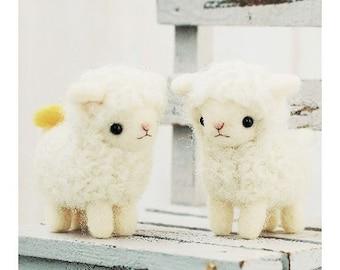 Japanese Needle Wool Felt DIY Kit - Kawaii White Sheep, Hamanaka Wool Kit, Japanese Felt Kit, Easy Felting Tutorial, Hamanaka Kit, F133
