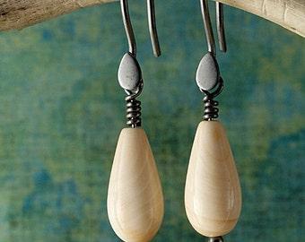 cameo shell earrings in oxidized sterling silver: Italian cornelian shell earrings, conch shell earrings, small teardrop earrings,