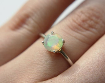 6mm Round Faceted Ethiopian Opal Ring in sterling silver or 14k gold - yellow gold - white gold - rose gold - ethiopian opal engagement ring
