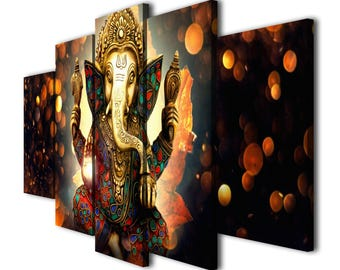 5 Panels Hindu God Ganesha Printed on Canvas Wall Art Picture for Home Décor, Contemporary Artwork, Split Canvases