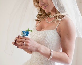 Boutonniere in Blue Hydrangea and Ranunculus (Buttonhole) Real Touch, Silk Wedding Flowers