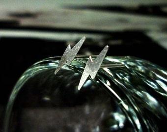 Tiny Lightning Bolt Earrings, Sterling Silver Lightning Earrings, Bolt Stud Earrings