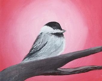 6x6 Chickadee - Acrylic Original Painting