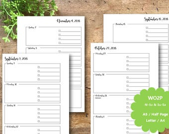 Weekly Planner Printable 2018, A5, Letter, Half page, A4, Weekly View, WO2P, Planner Insert, Planner Pages, Filofax, Kikki K