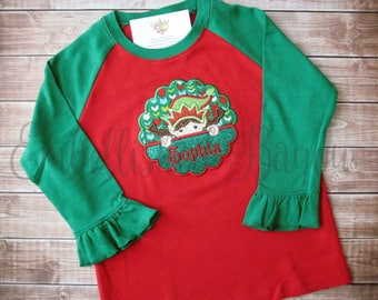 Appliqued Elf Girl Ruffle Raglan T-shirt for Girls, Red and Green