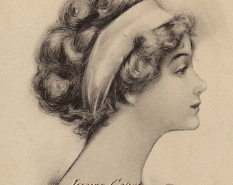 Vintage Lady with Headband and Flowers Vintage Postcard.  Digital Download. Instant, Transfer, Sepia, profile, illustration, #12PS/PS/PES
