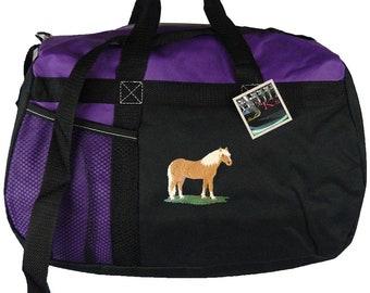 Haflinger Horse Gemline Sequel Duffle + Free Name Custom Embroidered Travel Overnight Bag