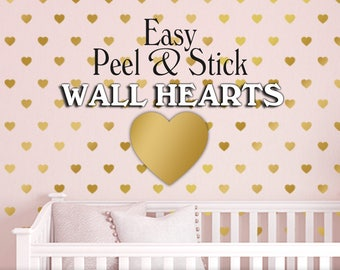 Heart Nursery Decor, Baby Girl Nursery, Gold Hearts Wall Decal Pattern, Easy Peel and Stick Decals, Choose from 39 Colors (01712a7v)