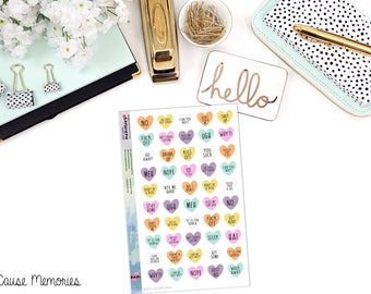"""SNARK SERIES: """"Anti-Valentine 'Eat Me' Hearts"""" Paper Planner Stickers - Mini Binder Sized/3 Hole Punched"""