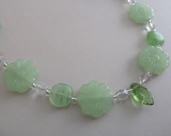 handmade green flower necklace, UK jewellery
