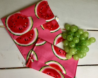 Watermelon DUO snack and sandwich bag has flap, waterproof, washable and reusable