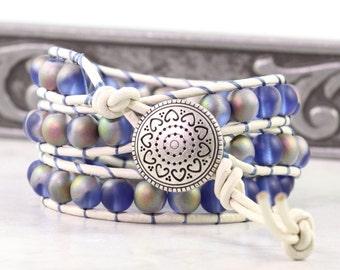 White Wrap Bracelet Opal Boho Wrap Bracelet Beach Fashion Triple Wrap Bohemian Jewelry Distressed Leather Jewelry Blue Wrap Bracelet