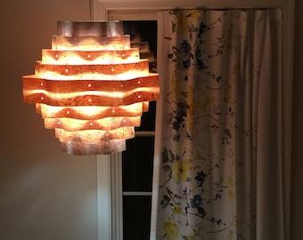 Ceiling Light-Chandelier Lighting-Hanging Lamp-Pendant Light-Lighting-Wood Pendant Light-Rustic Lighting-Waves Hanging Lamp-Rosewood Veneer