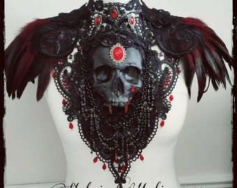 Vampire Coutessa Catacomb Couture Feather and Skull Shoulder Piece