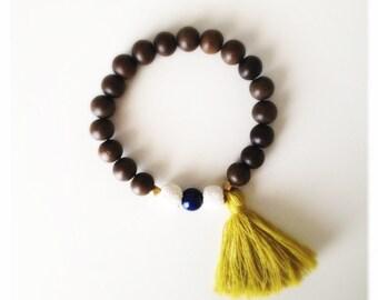 Wood Bead Tassel Bracelet - Chartreuse & Lapis Lazuli