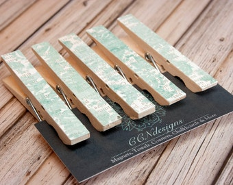 Green Floral Clothespin Magnets, Set of 5