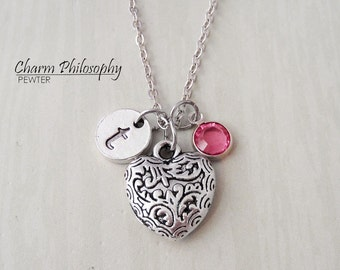 Heart Necklace - Filigree Heart Charm - Monogram Personalized Initial and Birthstone