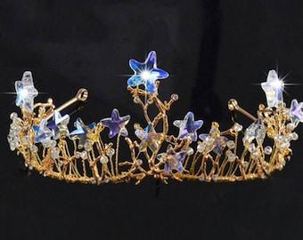 Bridal Boho gypsy star quartz wired wedding tiara crown.